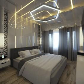 Неоновая подсветка в дизайне спального помещения