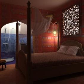 Дизайн освещения в спальне арабского стиля