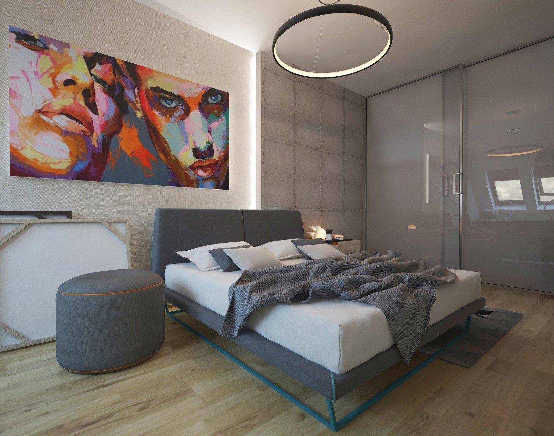фото простой спальни в стиле хай тек орган