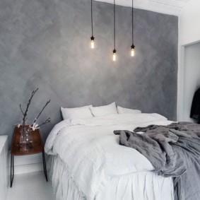 Акцентная стена спальни серого цвета