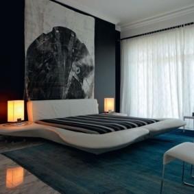 Футуристическая атмосфера спальни в стиле хай тек