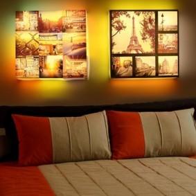 Панно из фотографий с подсветкой в спальной комнате