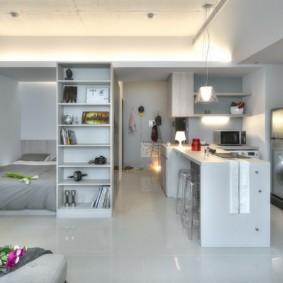Интерьер однокомнатной квартиры с каркасной мебелью