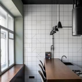 Светлый лофт в интерьере кухни