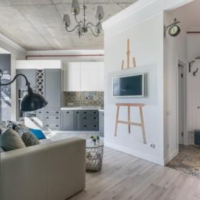 Дизайн однокомнатной квартиры в кирпичном доме