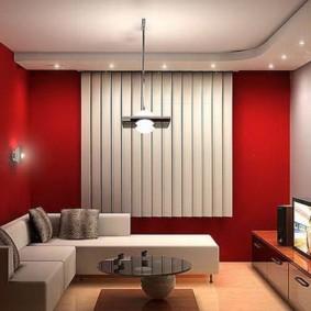 Красные стены в интерьере зала