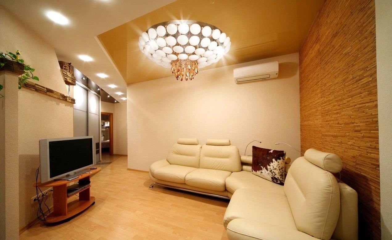 натяжные потолки фото для зала в квартире кекс