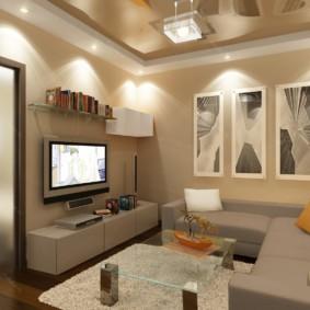 Угловой диван в комнате с модульными картинами