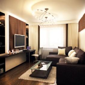 Темно-коричневый диван угловой формы