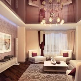 Дизайн современного зала в трехкомнатной квартире