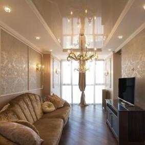 Узкая гостиная в стиле классики