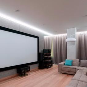 Оформление домашнего кинотеатра в современном стиле