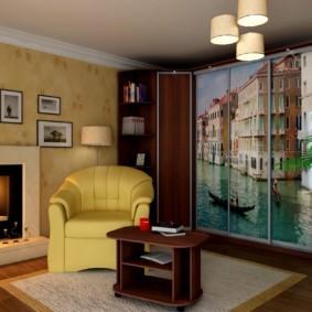 Фотопечать с изображением Венеции на дверцах шкафа