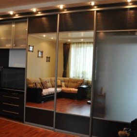 Фото зеркального шкафа в интерьере зала