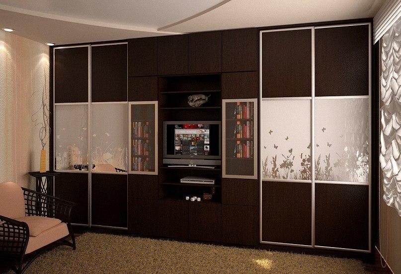 встроенные стенки в зал фото