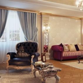 Гостиная частного дома в стиле классика