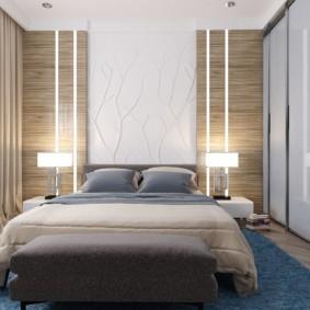Светлая спальня в трехкомнатной квартире