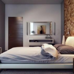 Декор деревянными панелями стены спальни