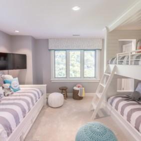 Дизайн детской спальни с двухъярусной кроватью