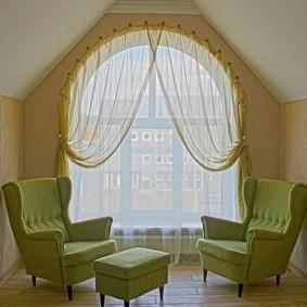 Декор тюлем арочного окна