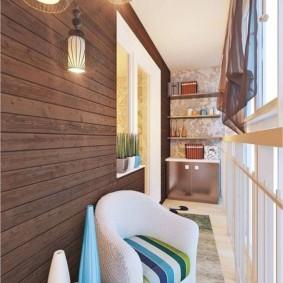 Дизайн балкона с деревянной вагонкой