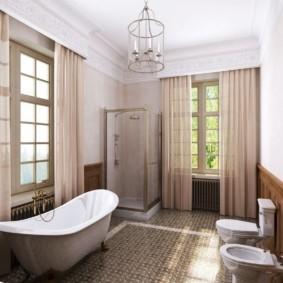 Шторы в интерьере ванной комнаты
