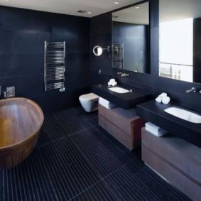 Дизайн ванной в синем цвете