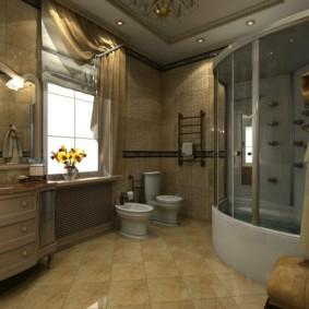 Душевой бокс с гидромассажем в ванной частного дома