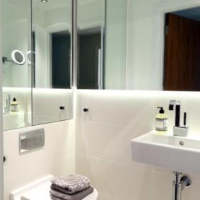Зеркальные стены в туалете панельного дома