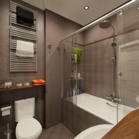 Дизайн небольшой ванной с коричневыми стенами