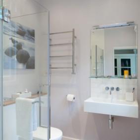 Зонирование ванной стеклянной перегородкой