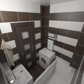 Коричневая плитка в совмещенной ванной