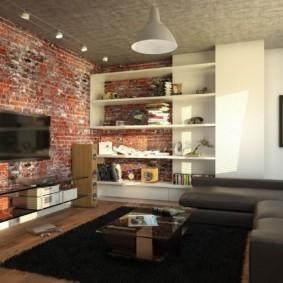 Кирпичная стена в гостиной стиля лофт