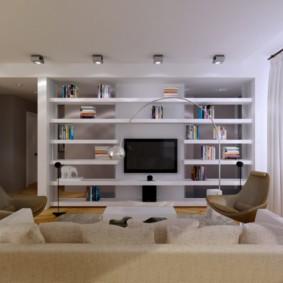 Дизайн гостиной с открытыми полками