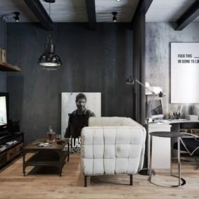Рабочий кабинет в гостиной комнате