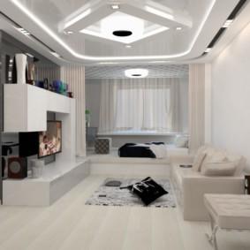 Неоновая подсветка на потолке комнаты в стиле хай тек