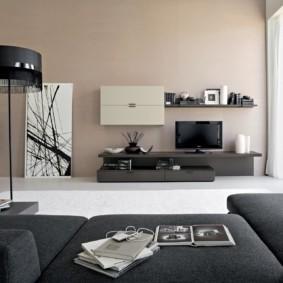 Корпусная мебель для зала в стиле минимализм