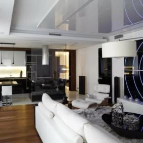 Футуристический дизайн кухни гостиной