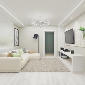Дизайн маленького зала в белом цвете