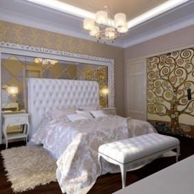 Освещение спальной комнаты с помощью люстры