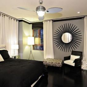 Черный пол в интерьере спальни