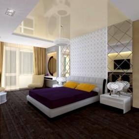 Дизайн спальни с натяжным потолком