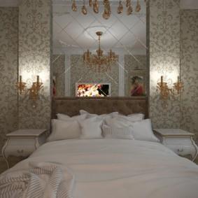 Бумажные обои в классической спальне