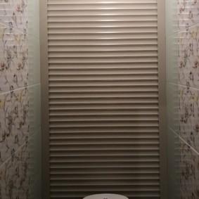 Узкий туалет с рольставнями на задней стенке