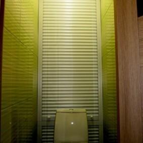 Салатовая плитка на стене небольшого туалета