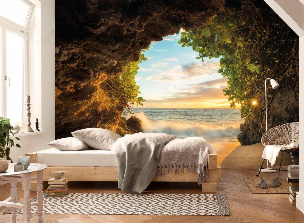 Реалистичные фотообои в спальной зоне однушки