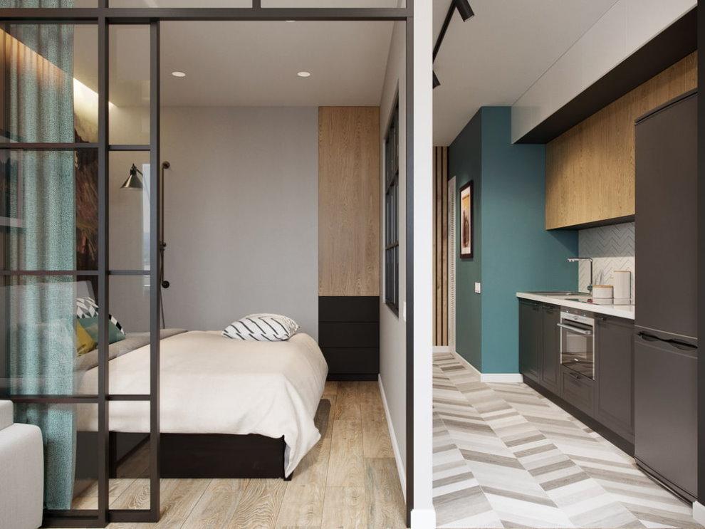 Перегородка из гипсокартонна между спальней и кухней