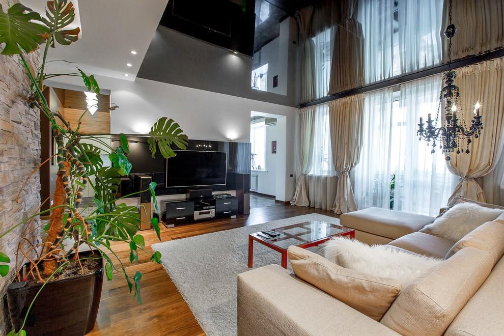 Черный потолок в гостиной современного стиля