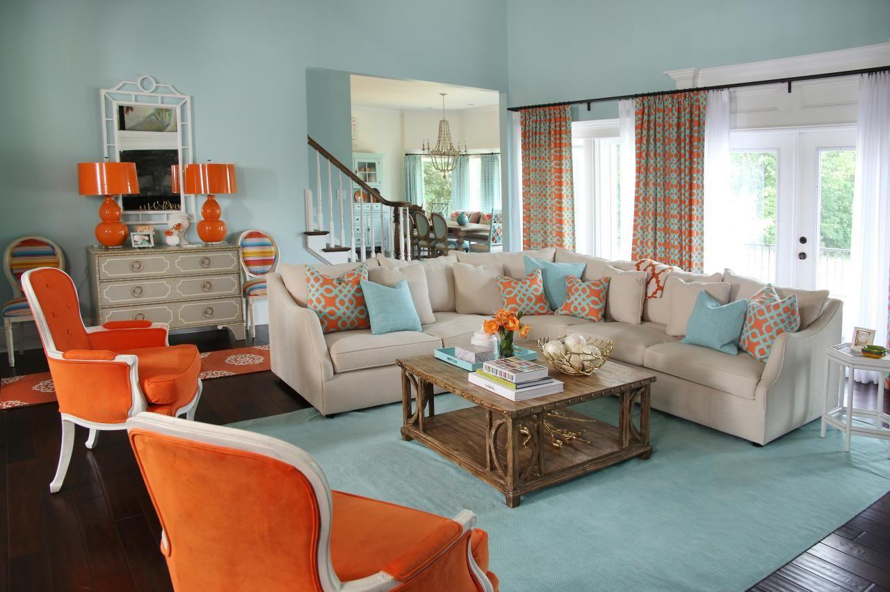 голубая гостиная с оранжевым