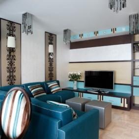 гостиная комната в голубых тонах дизайн